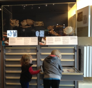 Will and Charlie examine the coin collection.