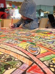 Will loved helping colour the replica Aztec calendar.