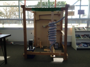 This student made invention was a place winner in a state-wide competition, now proudly on display in the middle of the library. Some signage would be helpful.