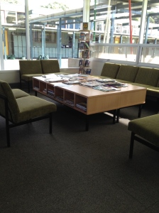 Students can relax here with a variety of magazines and journals.