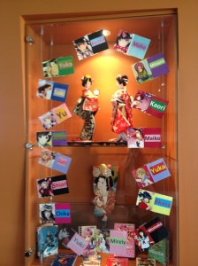 This lovely display cabinet is one of the many ways the library helps celebrate the culture of their Japanese sister school.